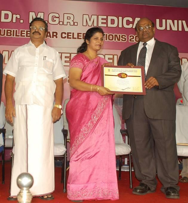 Best Doctor Award from M.G.R University and Tamilnadu Government Dr.V.S.Vijay Health Minister Presented by VC Dr.Mayilvaganan Natarajan on 05.09.2012