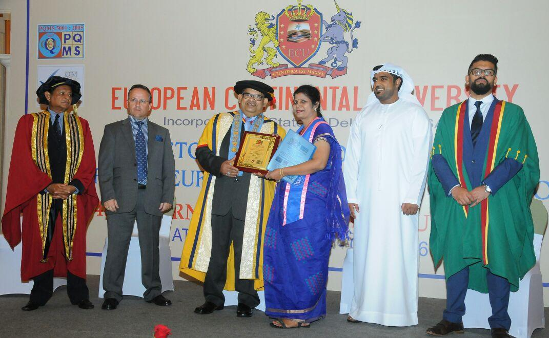 Best Doctor International Award from European Continental University, Dubai on 26.04.2016