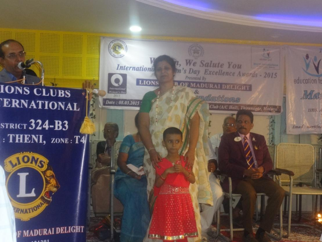 International Women's day Exellence award-2015 (Lions club)